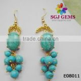 Fashion Jewelry Wholesale Turquoise Cheap Earrings,Plating Gold Color Cheap Earrings