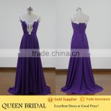 Real Sample Beaded Corset Flowing Long Chiffon Evening Dresses China