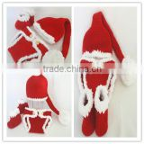 knit baby santa hats with diaper cover and shoes set christmas newborn photography props crochet baby santa clothing