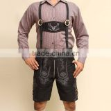 "Bavarian LEDERHOSEN Leather Pants with Braces Suede Leather Black waist W30""-42"""