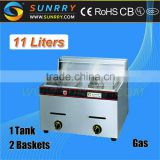 LPG used stainless steel manufacturung price 2 tanks 2 baskets desktop gas industrial deep fryer for sale                                                                         Quality Choice