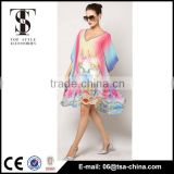 New ladies oversize V neck bat sleeve poncho beach cover up dress