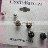 Antique Silver Plating Small Rose and Disco Ball Stud Earrings Set