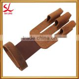 Shooting Wind Stopper Gloves Archery Products Right/Left Simple Brown 3 Finger Shooting Gloves For Longbow