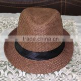 Khaki fedora natural grass cheap fedora hats for men wtih black ribbon