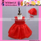 Elegant Party New Born Baby Dress With Hat Top Quality New Born Baby Dress