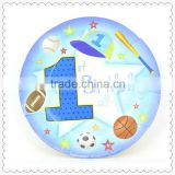 High quality disposable paper plate 1ST SPORTS theme for kids birthday parties