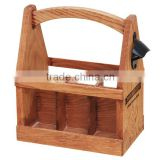 china factory FSC&BSCI wooden 6 pack beer bottle storage gift box tote carrier bucket with bottle opener