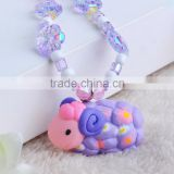 latest design beads necklace with pendant plastic bracelet set for girls charm ring necklace