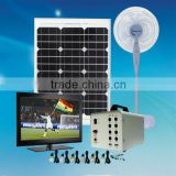 40W portable solar lighting kit charged by sunlight to run DC fan solar electricity generating system