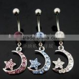 New Design 316l Surgical Steel crystal moon and star Logo Belly Button Ring Navel Piercing Jewelry