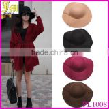 New British Style Women's Wide Brim Wool Felt Bowler Fedora Hat Floppy Sun Bowknot Cap Wholesale