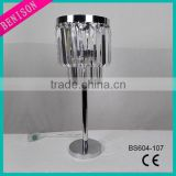 220V modern wholesale Led desk lamp electroplate silver metal Floor Lamp clear beaded 2-tier acrylic decoration Table lighting