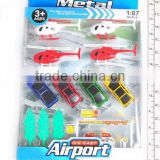 2014 NEW ARRRIVAL1:87 SCALE DIE CARST METAL AIRPORT WITH HELICOPTER CAR TOYS TRANSPORTATION SET FOR KIDS
