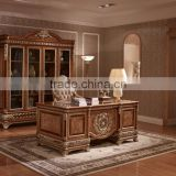 Exquisite Wood Carving Reading Table And Chair, Luxury Executive Office Furniture, Graceful Home Office Desk/ Bookcase