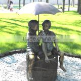 Bronze Boy & Girl Umbrella Fountain II