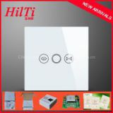 EU electric curtain switches Overload Protect Crystal Tempered Glass Panel AC110-240V blue LED indicator