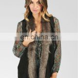raccoon fur collar knitted fine knitting vest /#00V19