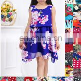 TOP sale baby girls sleeveless silk dresses printing girls dresses