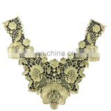Golden Embroidered Lace Neckline Collar Motif Applique Venise Patches for Fashion Design
