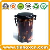 Round Metal Tin Coffee Container with Airtight Lid, Coffee Tin Box