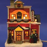 Christmas church house with LED lights  coffee shop Musical Ski Scene with  Polyresin Christmas House Decoration