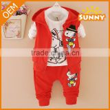 OEM Design 3pcs Baby Girls Clothes Cotton Clothes Baby Boys Sports Suit
