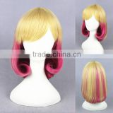 Cheap wholesale high quality 35CM short colorful blonde rose red women lolita party wig