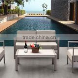2015 Cheap hotel Outdoor simple brushed Aluminum and plastic wood Grey outdoor sofa in garden set