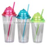 2016 summer hot selling Mlife wholesale 12oz 16oz 24oz double wall AS clear plastic straw tumbler ice cream shape cup with straw