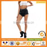 Women Denim High Rise Hot Pants With Shredded Rips Denim Shorts Ripped Jeans In Washed Black