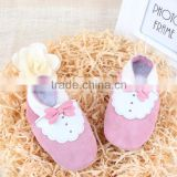 Dancing Party Princess Handmade Cow Suede Soft Bottom Fashion Bowknot Baby Leather Newborn Babies Shoes pink color
