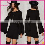 Customized Design New Fashion Solid Color O neck Flowing Long Sleeve Dresss Bell Sleeve Dress