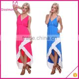 Women's Asymmetric Hem Colorblock Long Dress Ladies Western Dress Designs Sex Lady Dress
