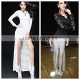 silk joining the European and American fashion long dress design, lady dress, night dress