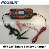 6V/12V 2A 3.5A 4A scooter car smart Battery Charger with LCD display motorcycle lead acid charger