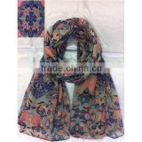 Fashion Multicolor Geometry Baroque Printed Polyester Printed Scarf For Lady Fashion Dress