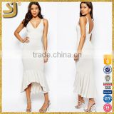 V neck western party backless white dress with soft peplum hem                                                                         Quality Choice