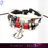 2013 Newest Cheap Fashion Bracelet Handmade Leather Bracelet With Sea Anchor For Yong People