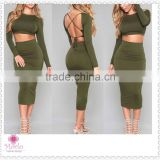 Two pieces backless fashion long sleeve club bandage women sexy dress                                                                         Quality Choice