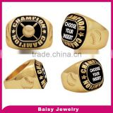 china factory cheap custom gold plated 316l stainless steel fantasy baseball championship rings