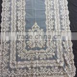 polyester white&beige latest European noble traditional embroidery lace delantal fabric big size 120cm*100cm for lady