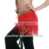 Hot Selling Silk , Tassel and Red Belly Dance Hip Scarf Decorated with Beads