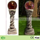 Polyresin roman column with red glass ball solar light for garden LED lighting decoration