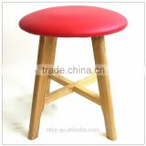 TDUK-03-2 QVB JIANDE TONGDA RED COLOR ASH WOOD FRAME NATURE PATING PU ROUND SEAT STOOL WOODEN STOOL