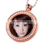 SRP9007 Rhinestone Setting Circle Photo Locket Necklace Photo Frame Pendant Stainless Steel Pendant