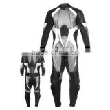 Motorbike Leather Suit(silver, black and white combination also with two front zippers style)