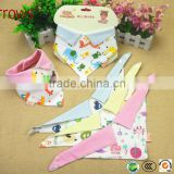 3 Layers Waterproof Knitted Cotton Collar Style Baby Bandana Bibs with Buttons Wholesale