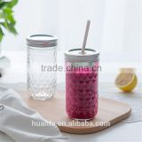 Best selling products of Wholesale glass diamond mason jar with silver lid and straw stockage