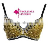 Wholesale Gold Sequin Dance Bra Top Shiny Bra Top